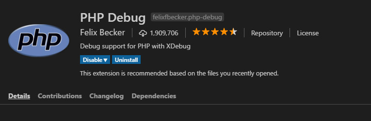 php debug extension by felix becker
