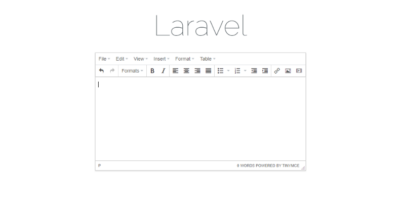 A typical editor on a laravel site.