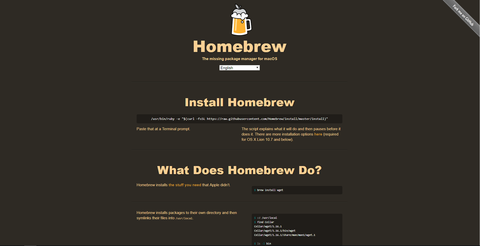 homebrew homepage screenshot
