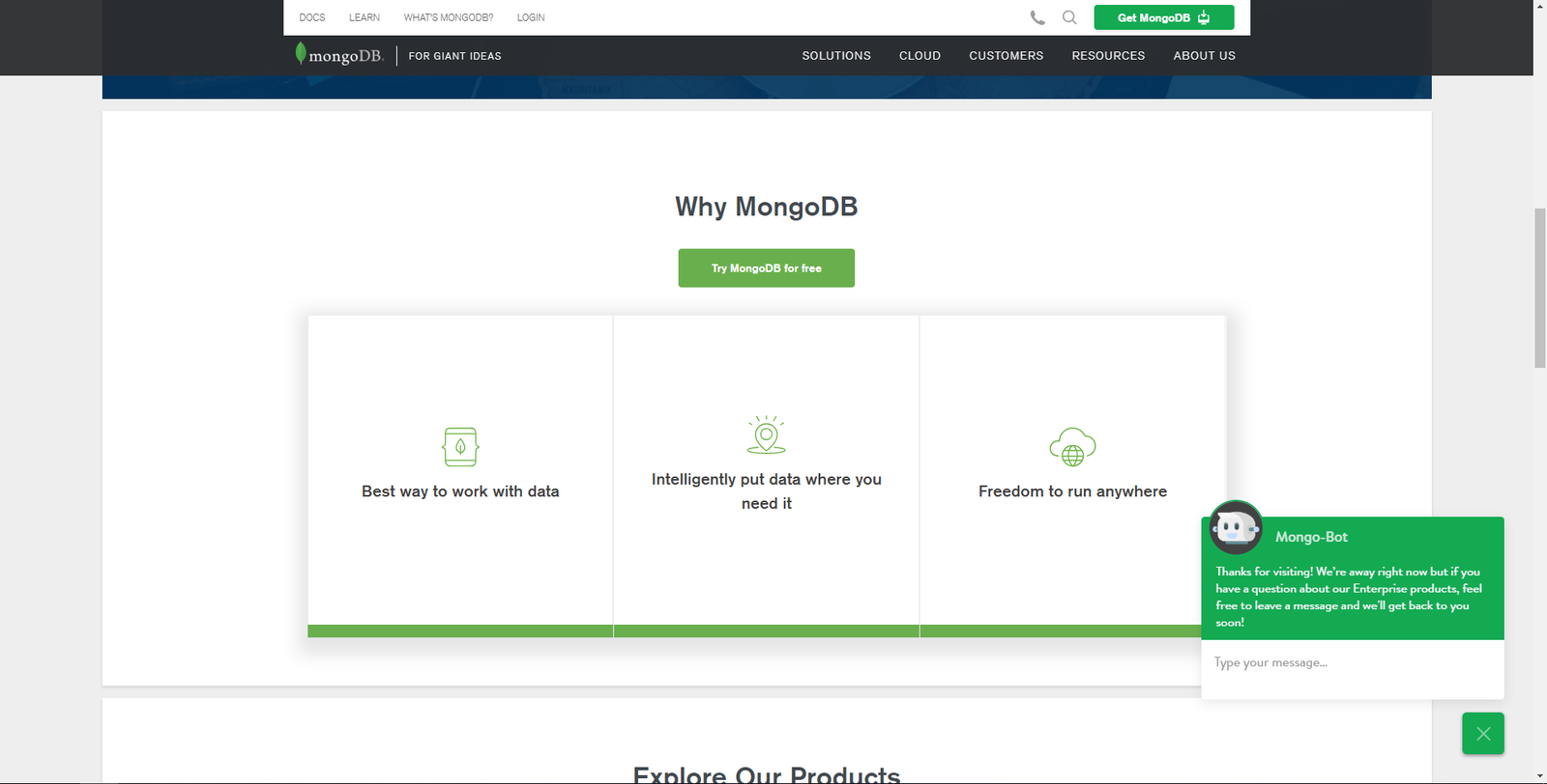 mongo db website screenshot