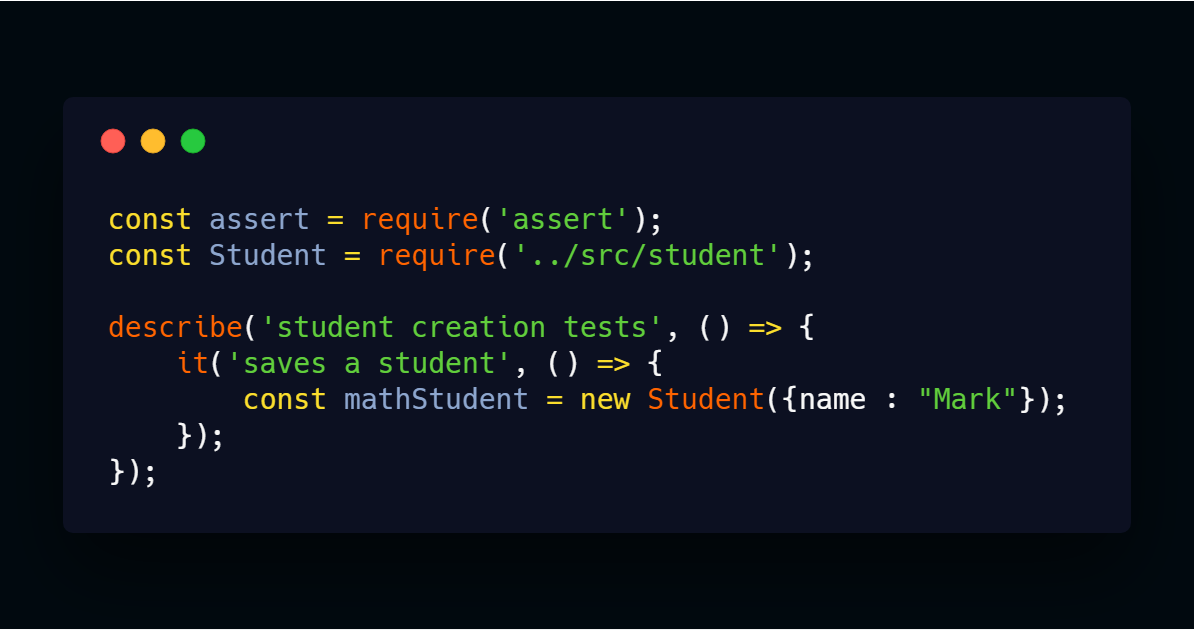 creating a new student instance