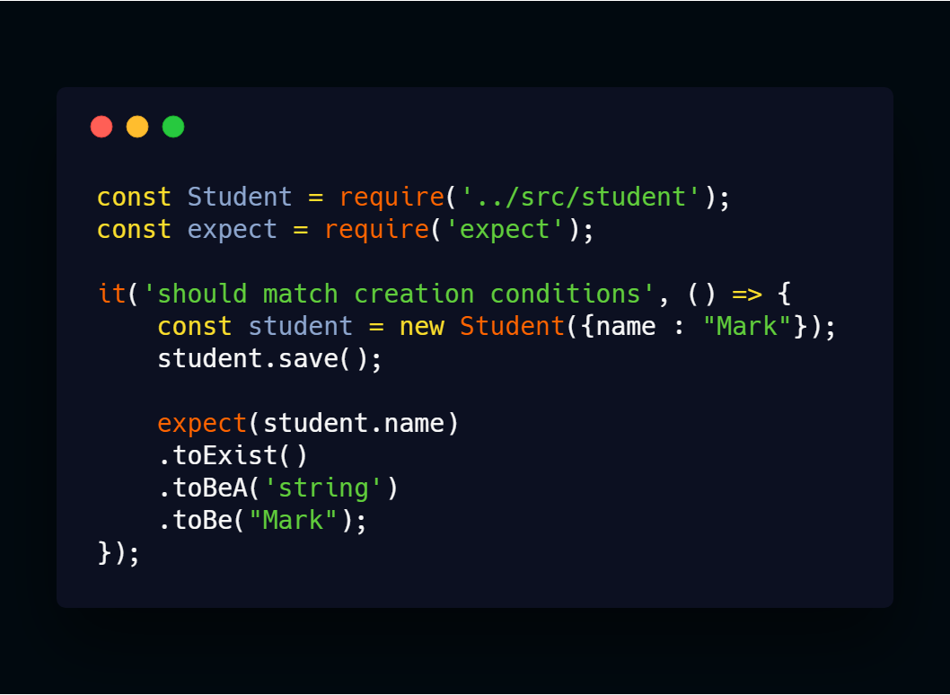 testing code with expect