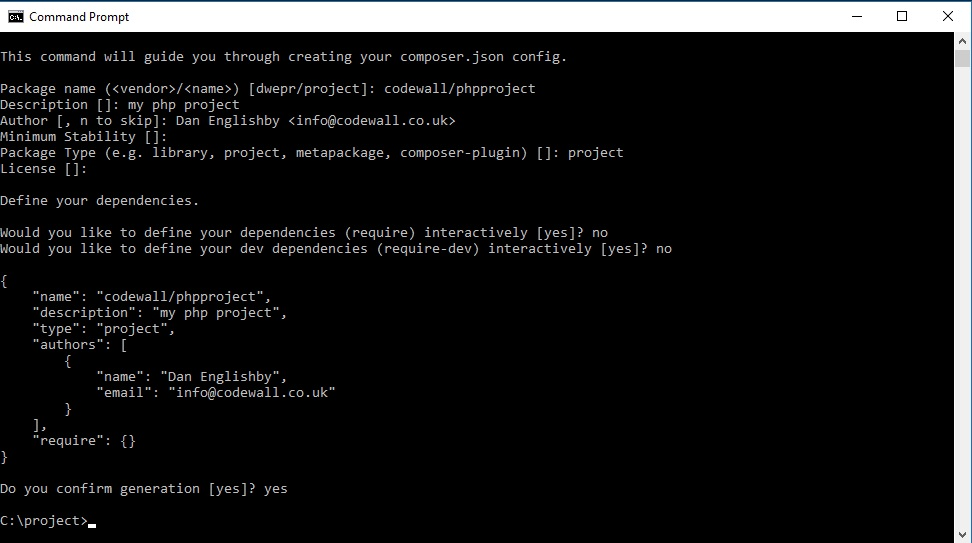 building composer.json file