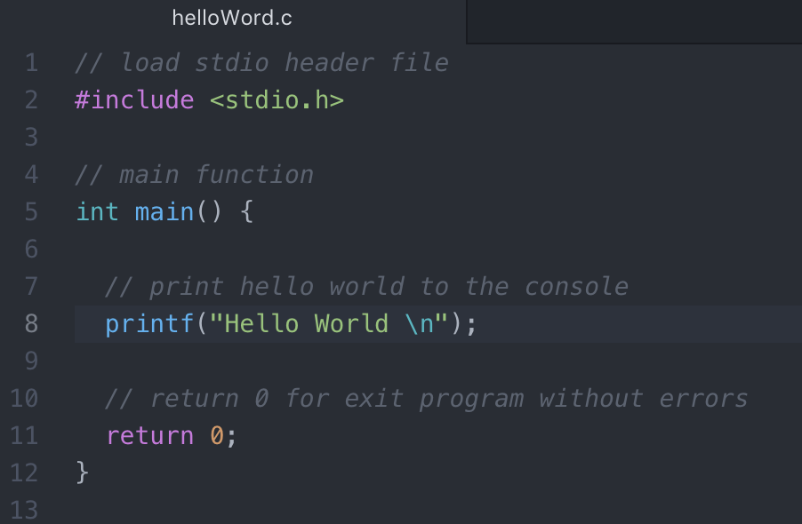 hello world example in c