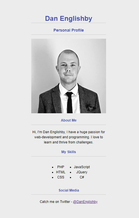 personal profile page example