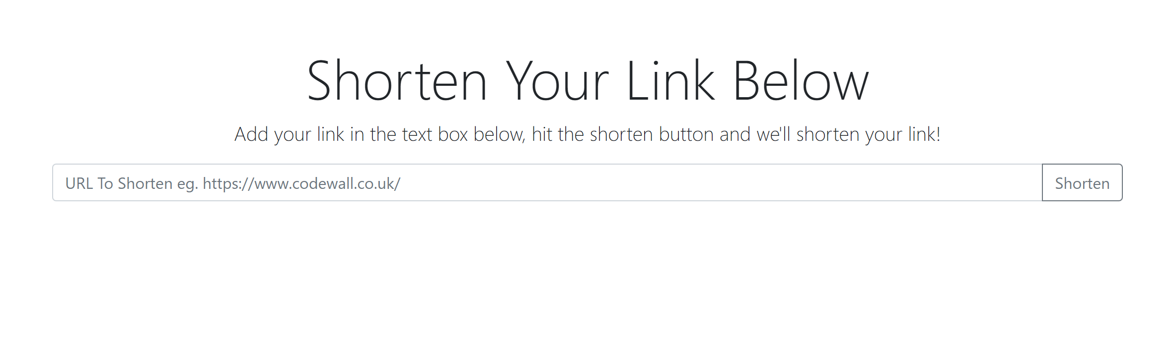 url shortener front end