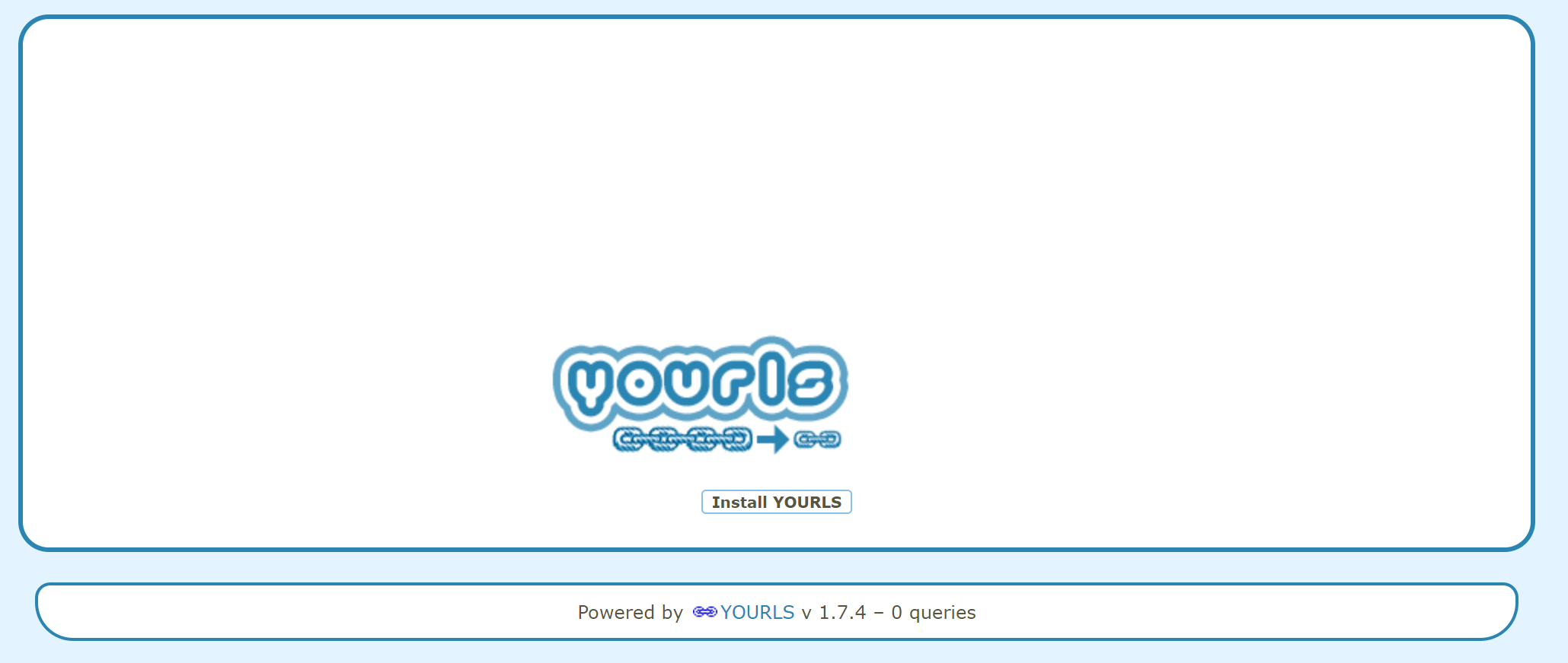 yourls install admin page