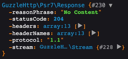 guzzle http response for delete request