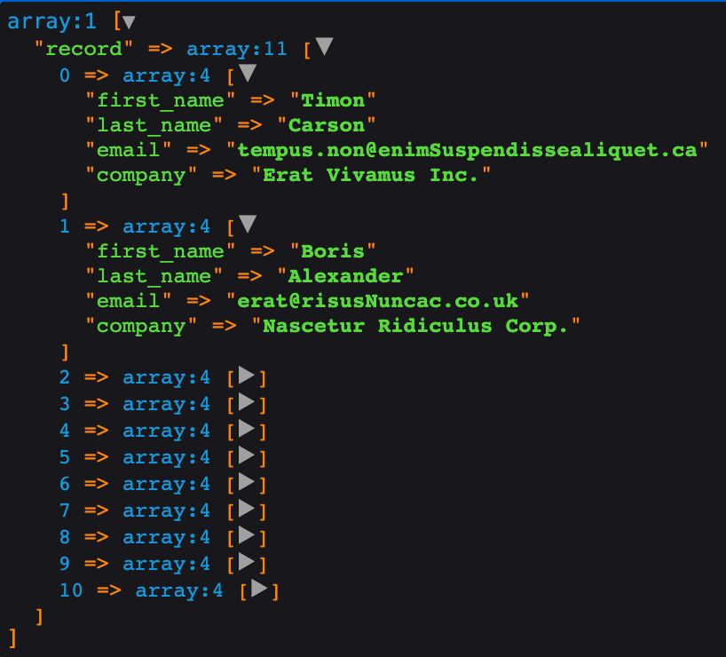 xml to array converted output